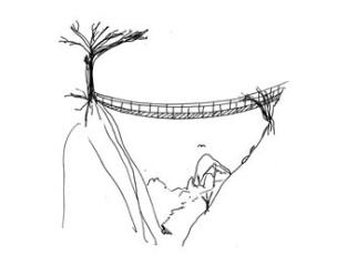 Wie sieht es auf der anderen Seite aus, wenn ich über die Hängebrücke gegangen bin?