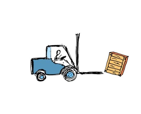 Gabelstapler – Kiste fällt herunter