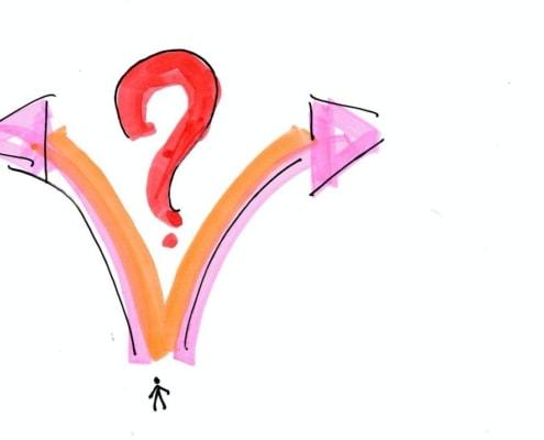 Entscheidung treffen – Option A oder B – rechts oder links?